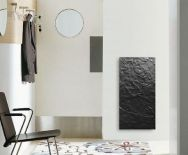 Radiateur électrique vertical Valderoma design à inertie 800w Ardoise noire.